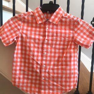 Gymboree orange & white gingham button down shirt